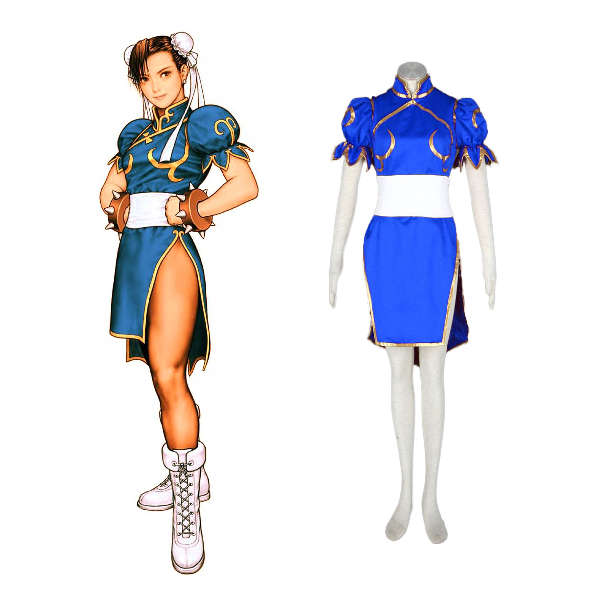Street Fighter Chun-Li 1 Blue Cosplay Costumes AU