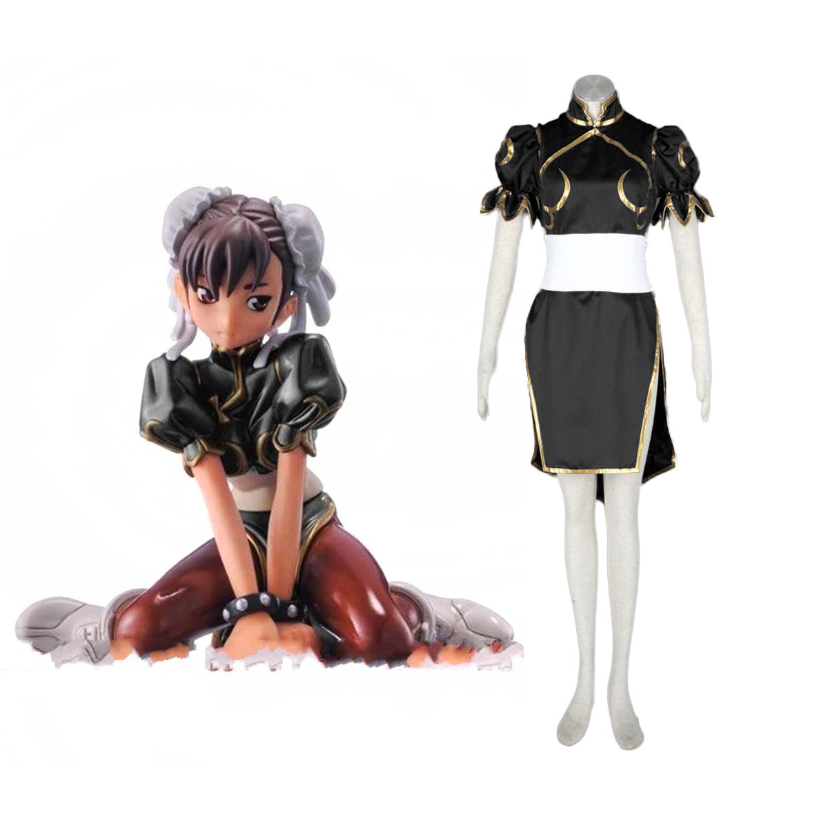 Street Fighter Chun-Li 2 Black Cosplay Costumes AU