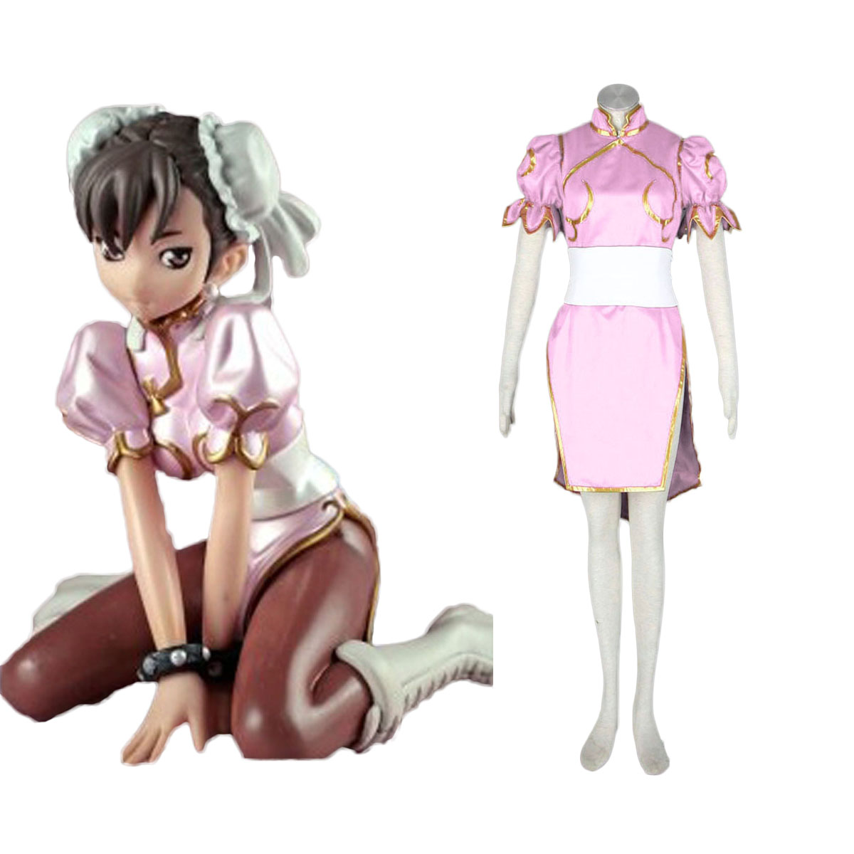 Street Fighter Chun- Li 3 Pink Cosplay Costumes AU