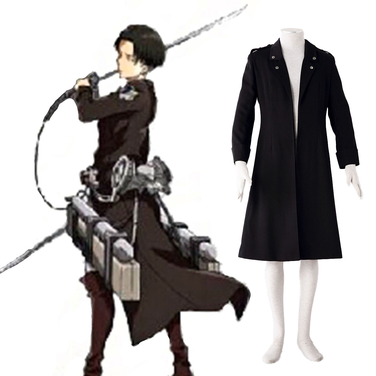 Attack on Titan Levi Black Cosplay Costumes AU