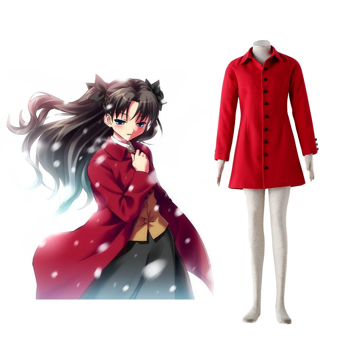 The Holy Grail War Tohsaka Rin 4 Red Cosplay Costumes AU