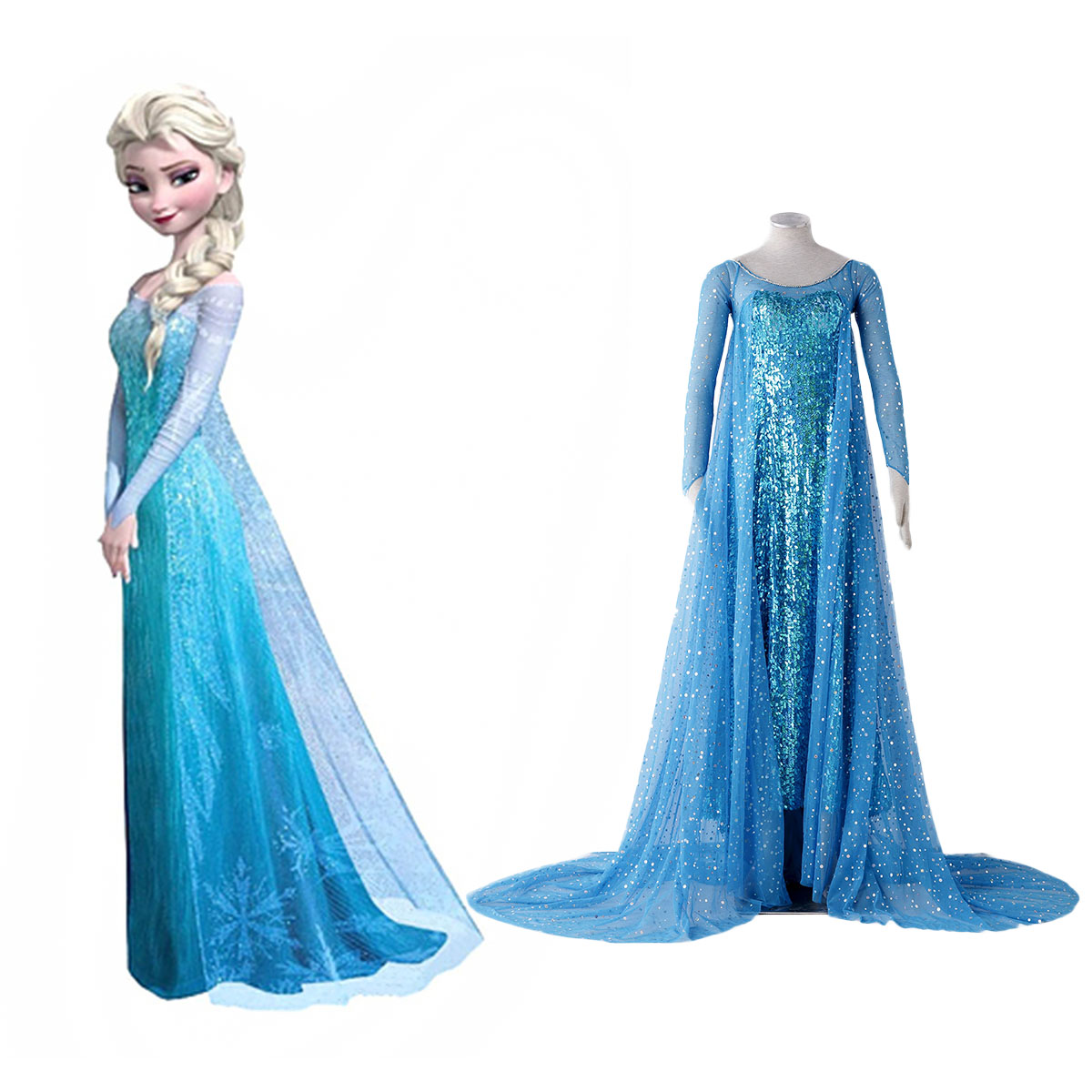 Frozen Elsa 1 Blue Cosplay Costumes AU