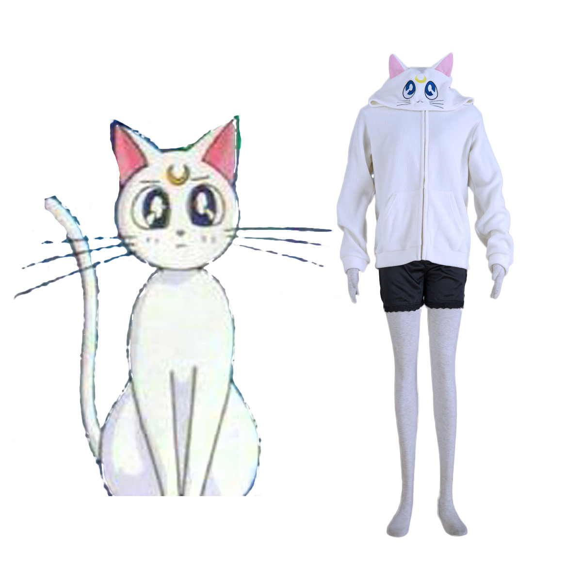 Sailor Moon White Cat Artemis Cosplay Costumes AU