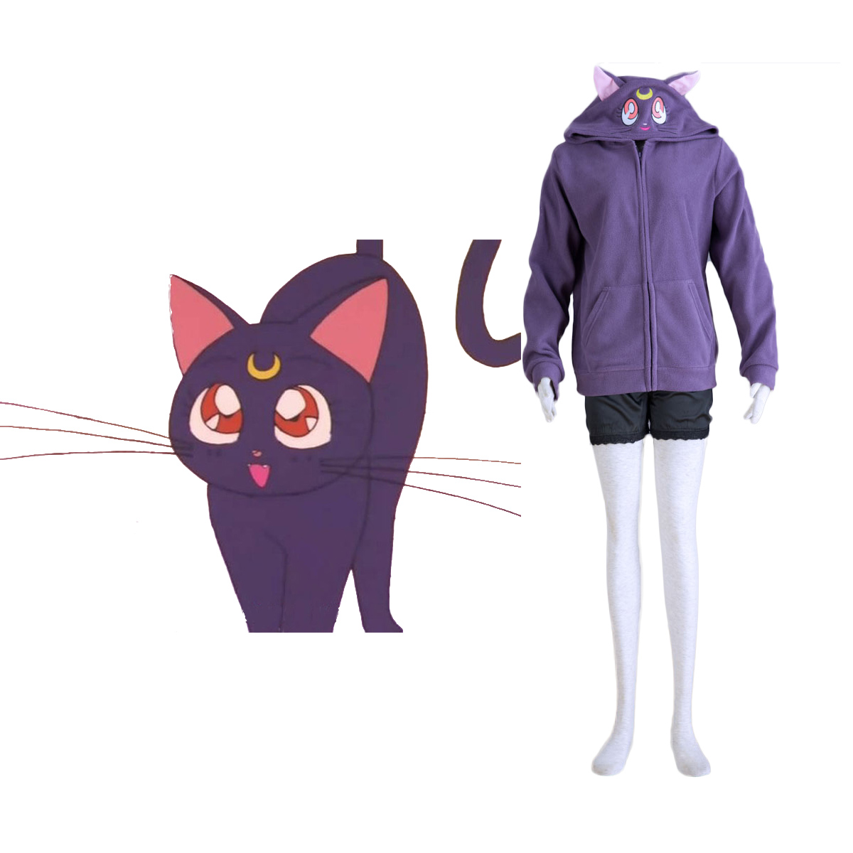 Sailor Moon Black Cat Luna Cosplay Costumes AU