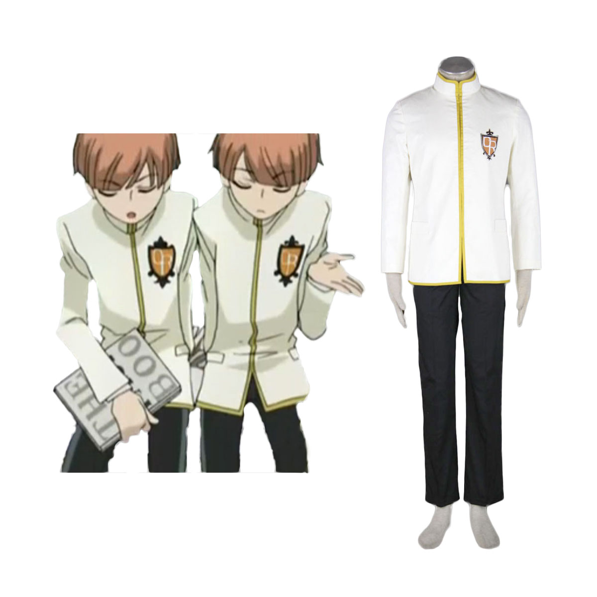 Ouran High School Host Club Male Uniforms Yellow Cosplay Costumes AU