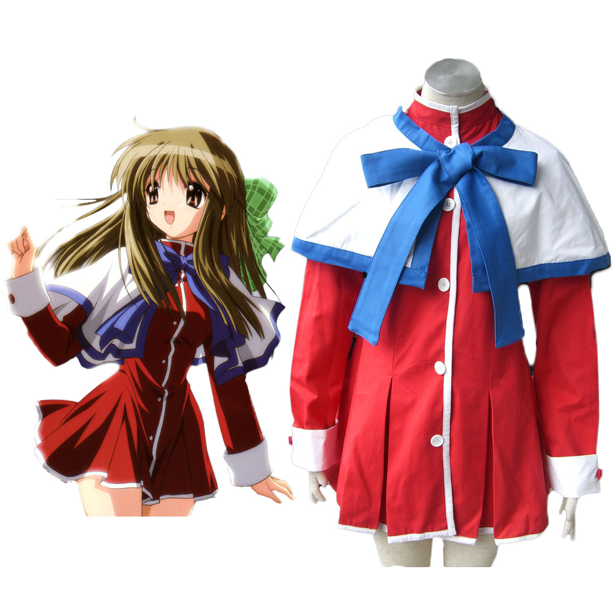 Kanon High School Uniforms Blue Ribbon Cosplay Costumes AU