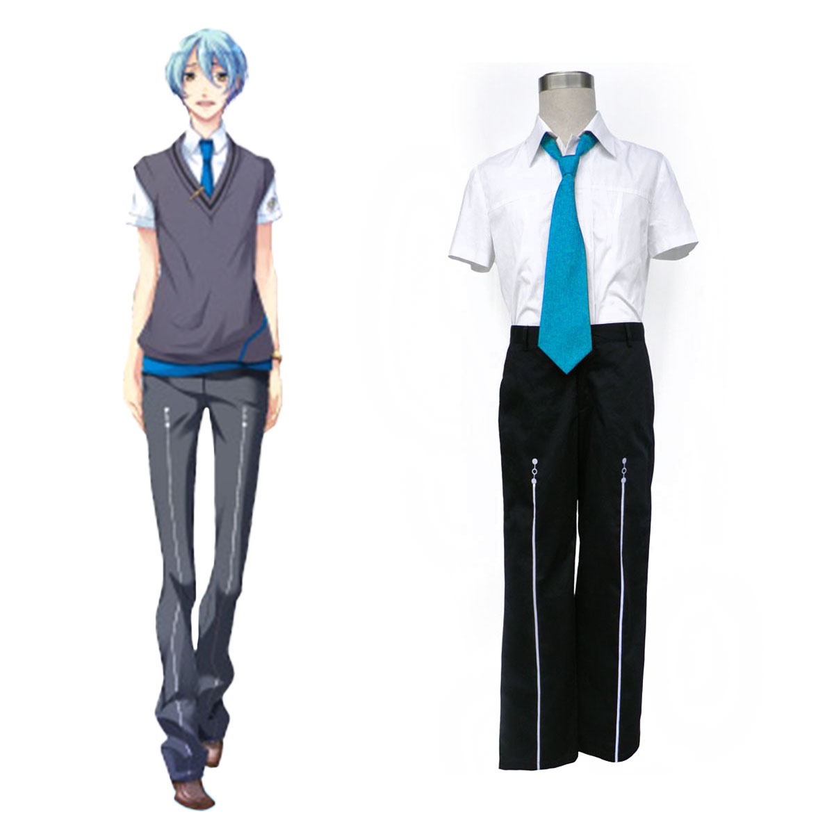 Starry Sky Male Summer School Uniform 3 Cosplay Costumes AU