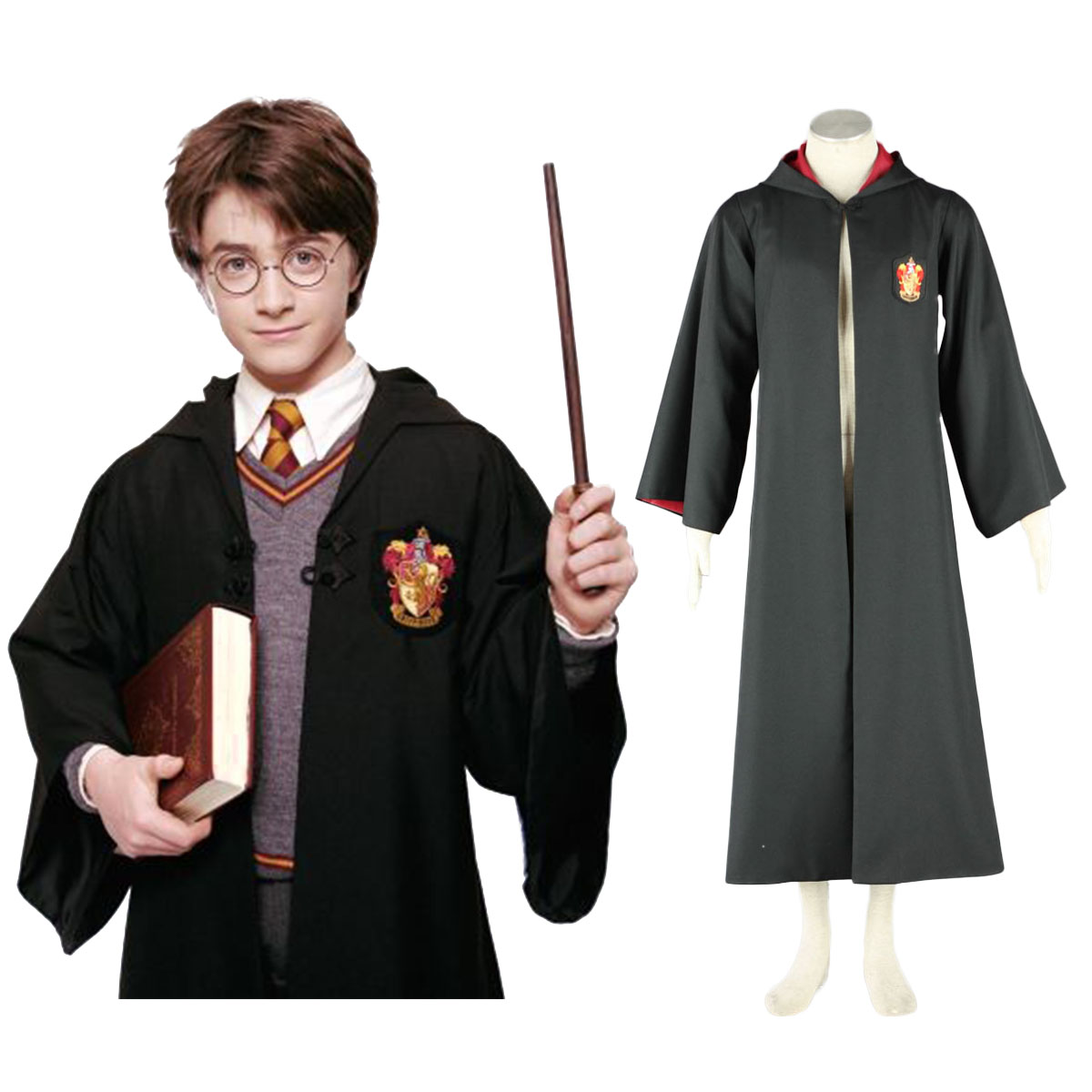 Harry Potter Gryffindor Uniform Cloak Cosplay Costumes AU