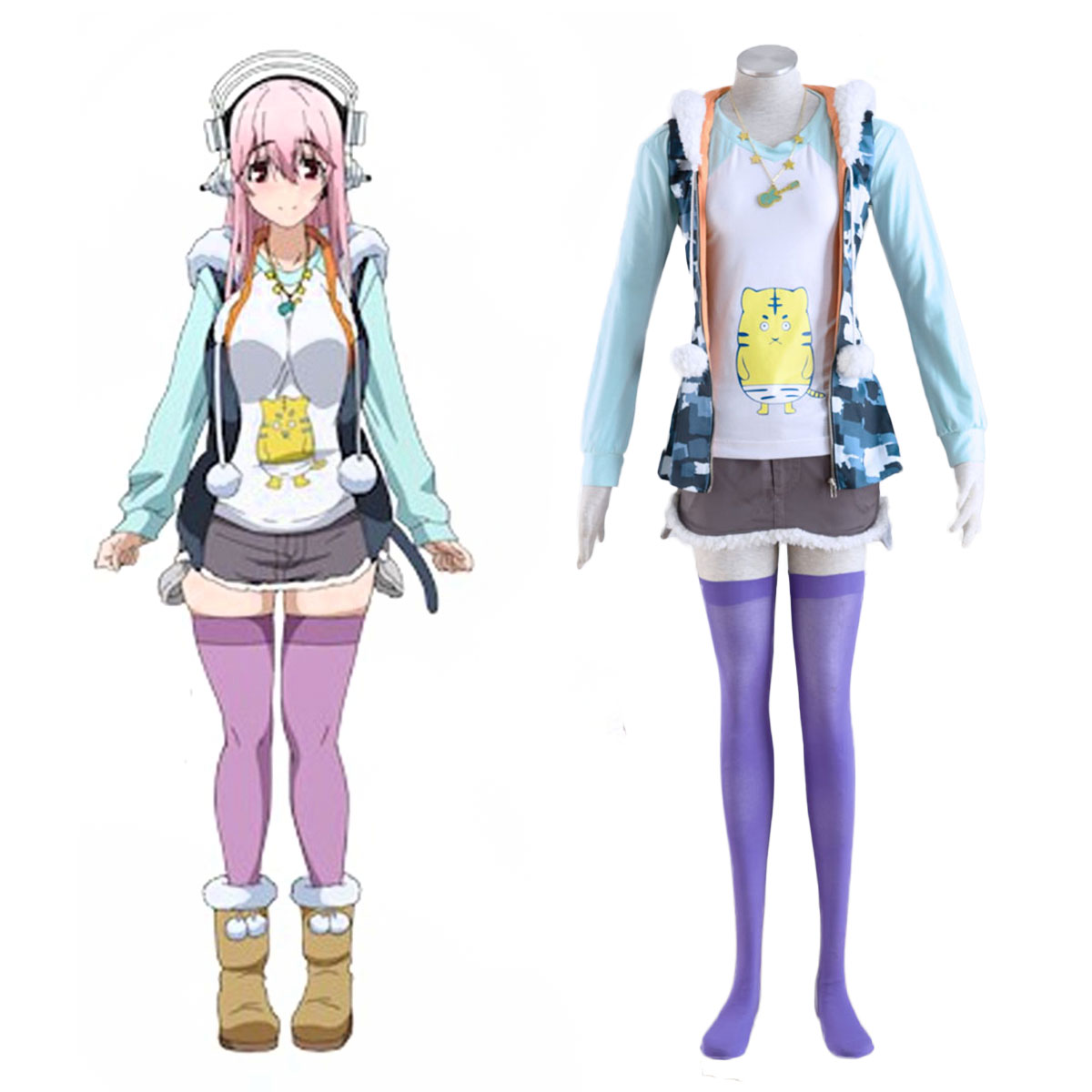 Soni-Ani:Super Sonico the Animation Super Sonico 1 Cosplay Costumes AU