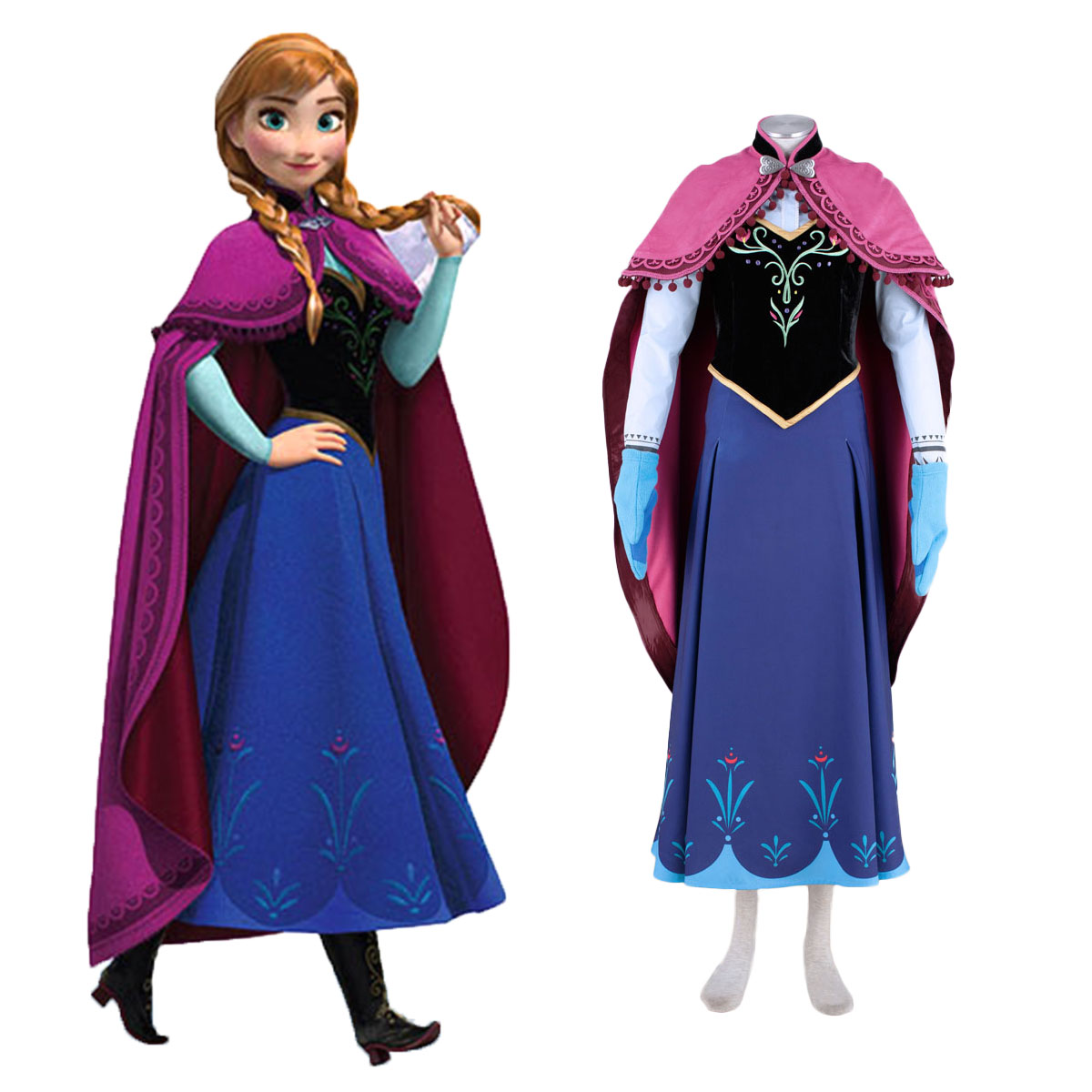 Frozen Anna 1 Cosplay Costumes AU