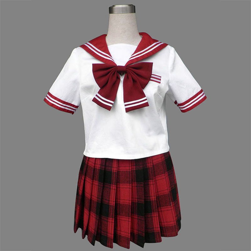Sailor Uniform 6 Red Grid Cosplay Costumes AU