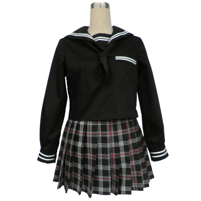 Sailor Uniform 7 Red Black Grid Cosplay Costumes AU