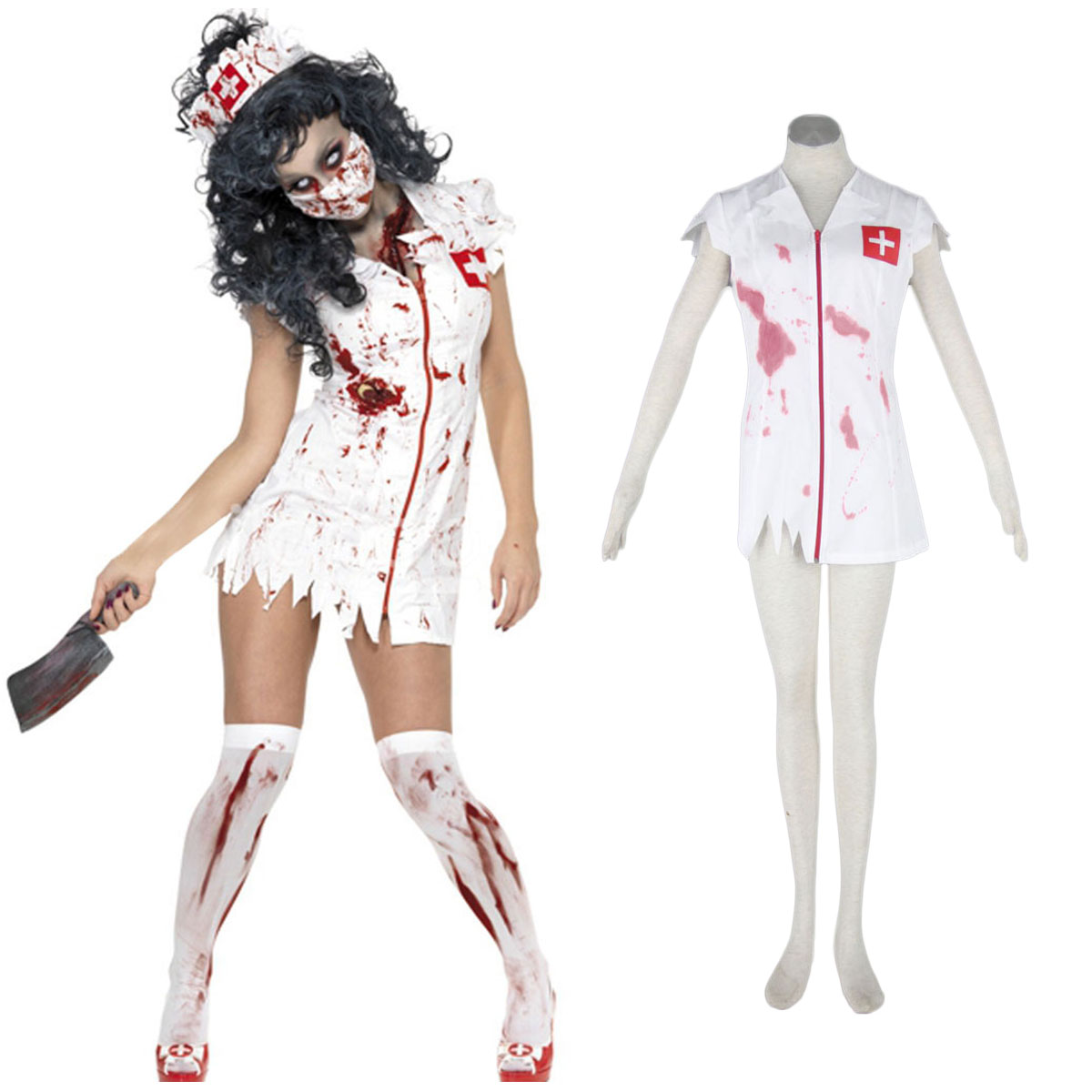 Halloween Culture Zombie Burst Blood Nurses 1 Cosplay Costumes AU