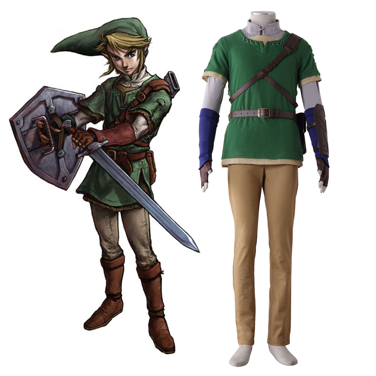 The Legend of Zelda Twilight Princess Link 4 Cosplay Costumes AU