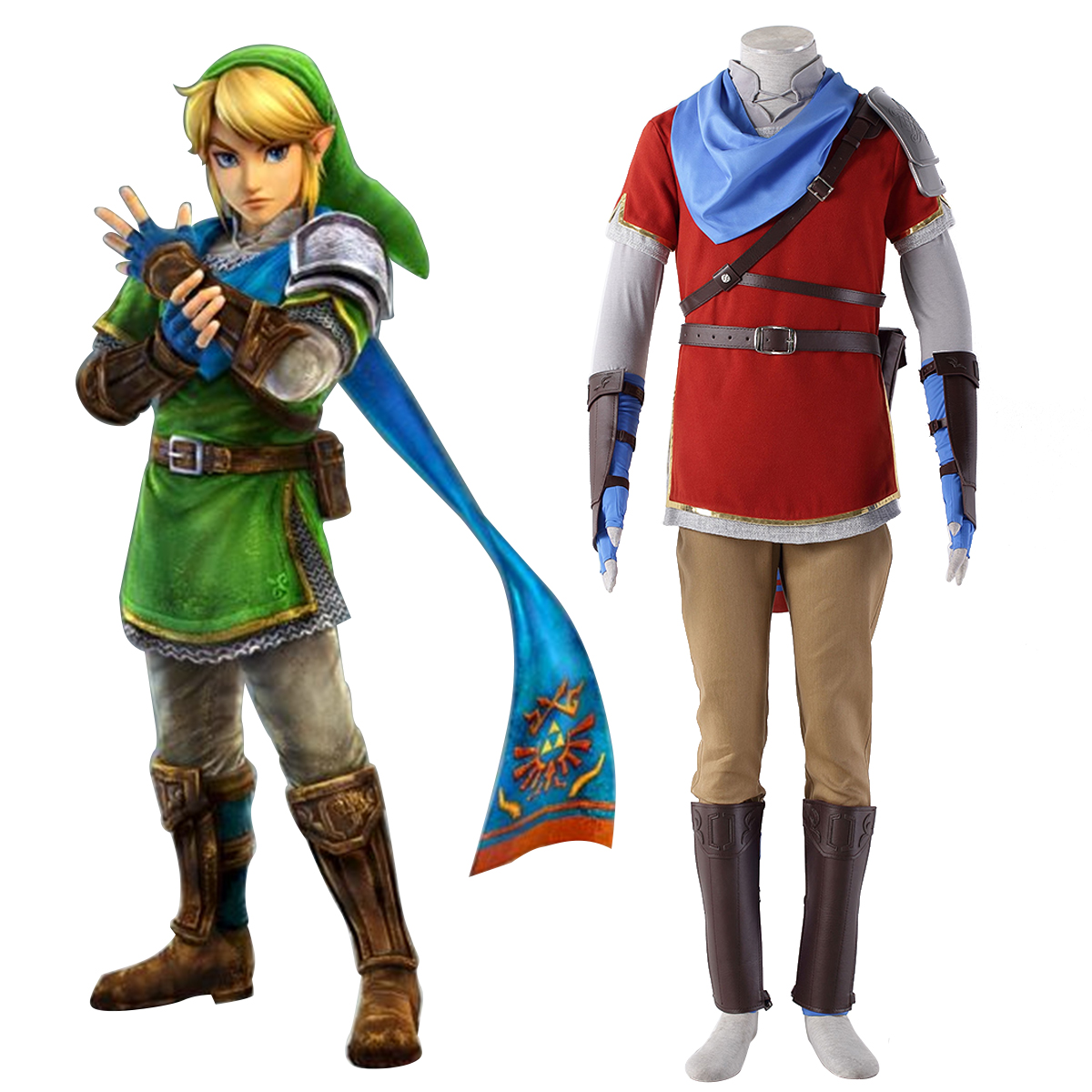 The Legend of Zelda Hyrule-Warriors Link 6 Red Cosplay Costumes AU