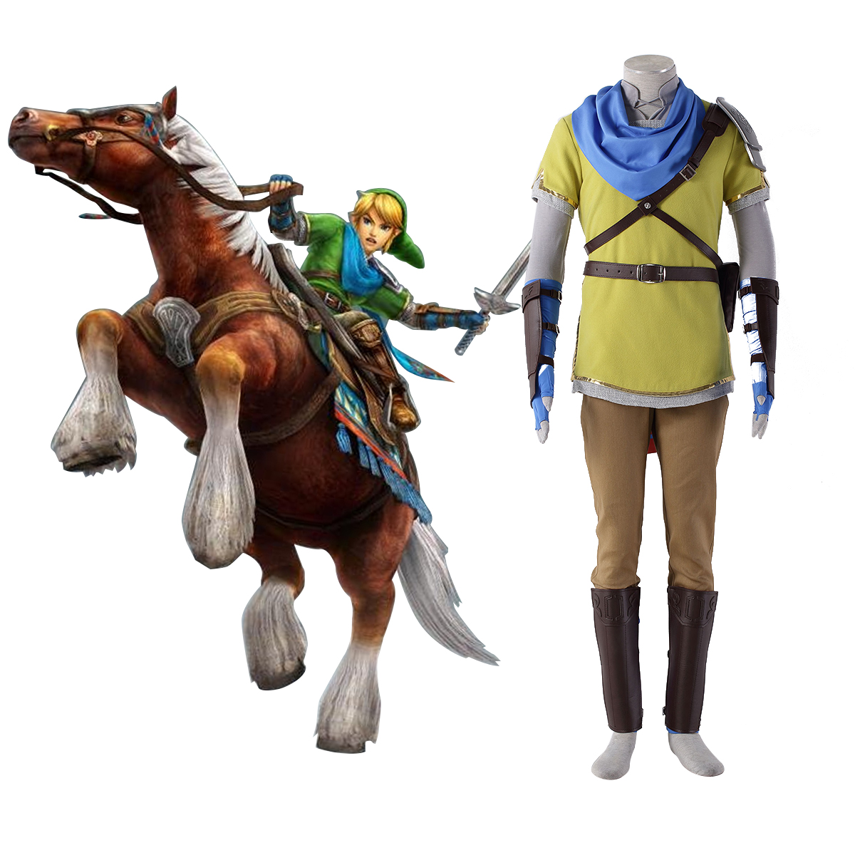 The Legend of Zelda Hyrule-Warriors Link 7 Yellow Cosplay Costumes AU