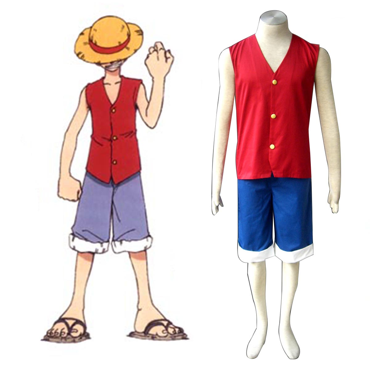 One Piece Monkey D. Luffy 1 Red Cosplay Costumes AU