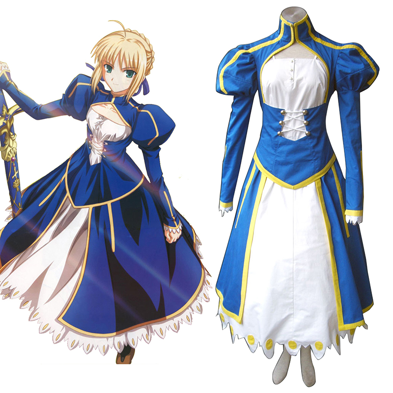 The Holy Grail War Saber 1 Blue Cosplay Costumes AU
