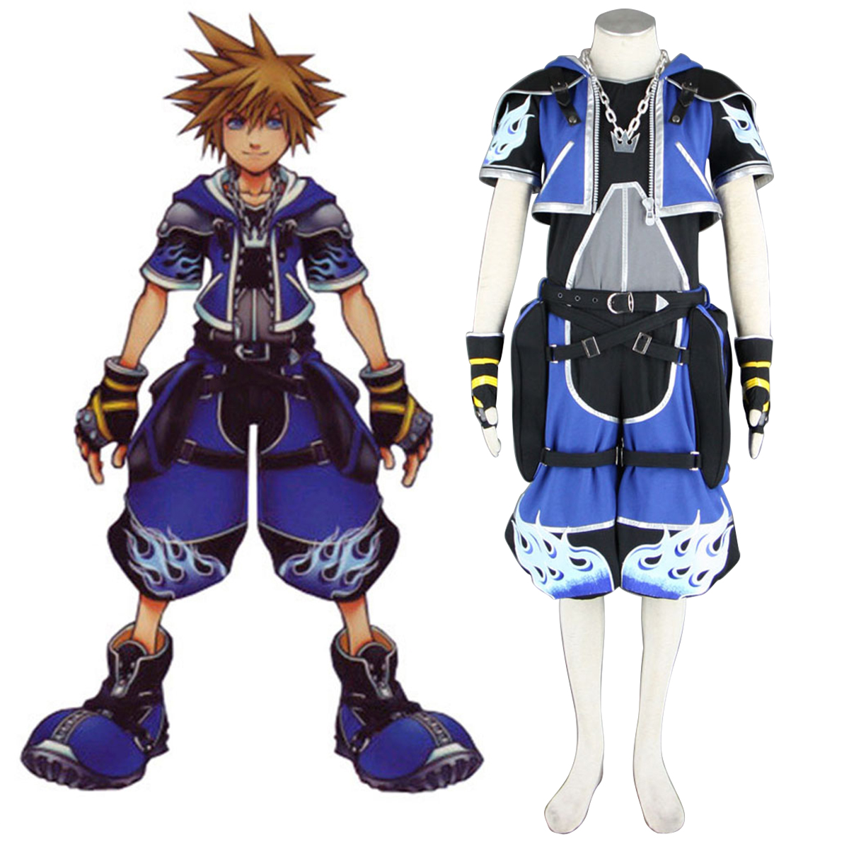 Kingdom Hearts Sora 2 Blue Cosplay Costumes AU
