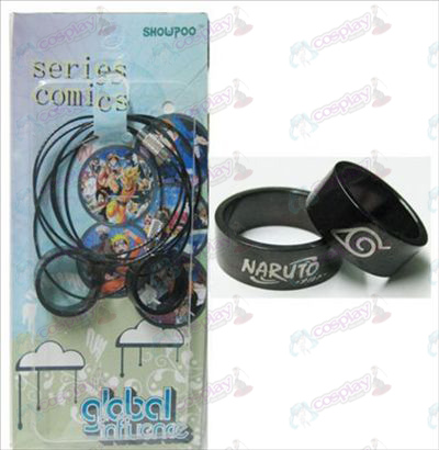 Naruto konoha black steel couple rings necklace (rope)