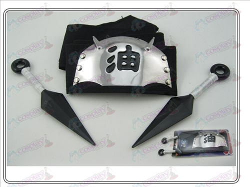 Naruto headband + double white black oil having no (three-piece)