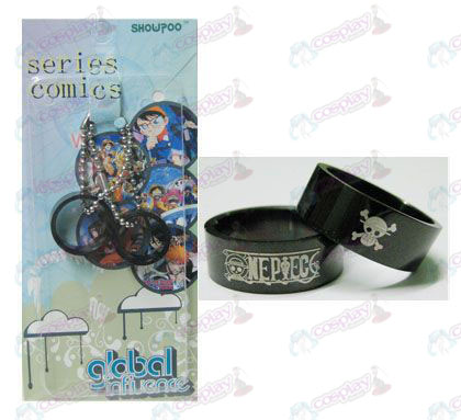 One Piece Accessories card installed black steel couple rings