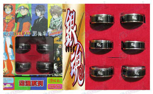 Gin Tama Accessories black steel rotating ring 6 a suit