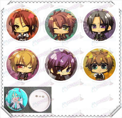 6 mounted 75MM light film badge-Hakuouki Accessories