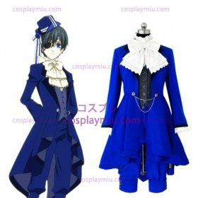 Kuroshitsuji Ciel Phantomhive Cartoon Blue Lolita Cosplay Costume