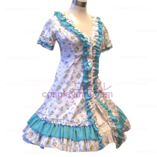 Garden Style Blue Broken Flower Dress Lolita Cosplay Costume