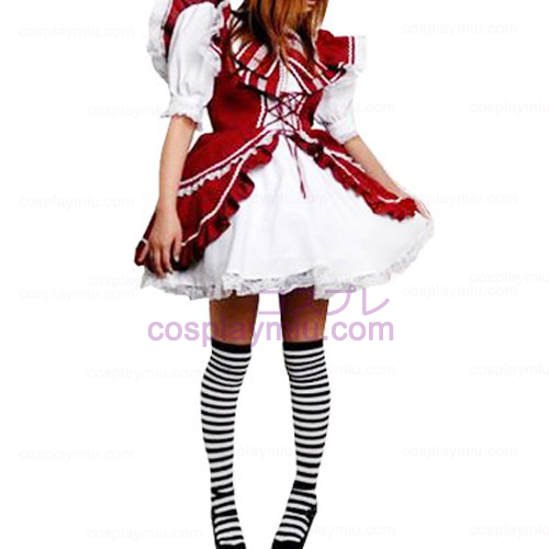 Red And White Lace Trimmed Lolita Cosplay Dress