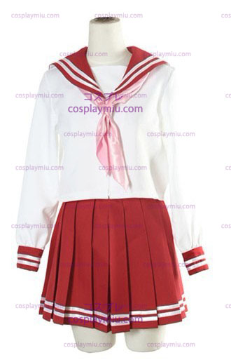Halloween White And Red Long Sleeves Sailor School Uniform