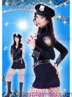 Sexy Long Sleeve Lady Police Patched Costume