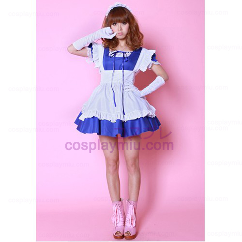White Apron and Blue Skirt Maid Costumes