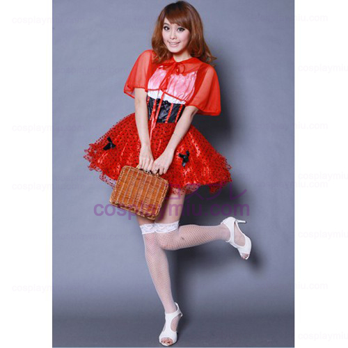 Red Pompon Veil Skirt Maid Costumes