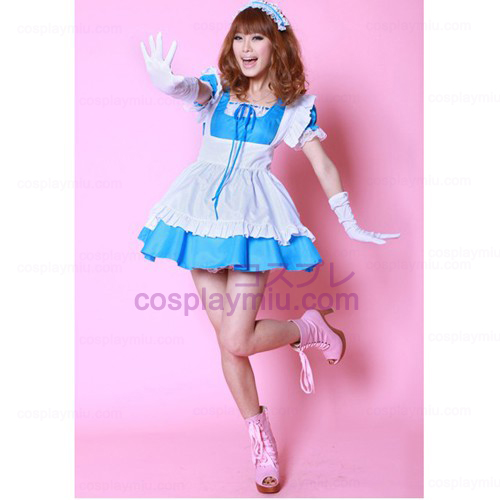 White Apron and Blue Skirt Maid Costumes Hot Sale