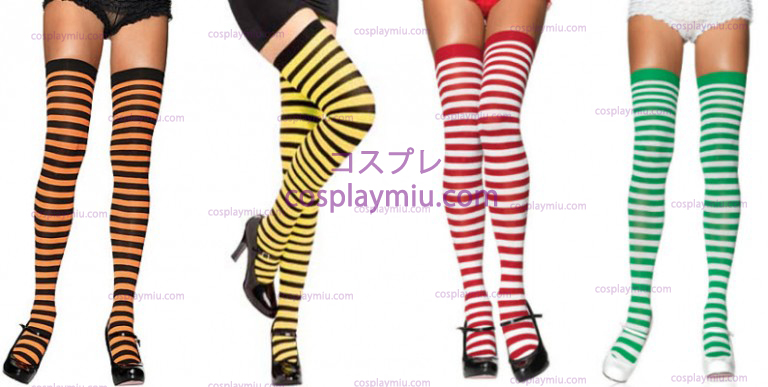Striped Thigh High Stockings