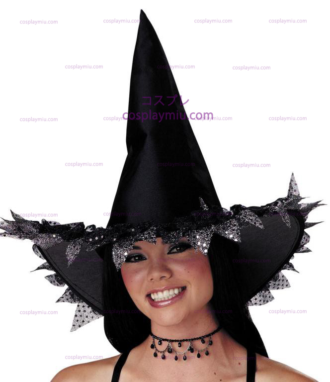 Witch Hat with Silver Sparkle Trim