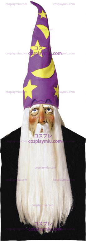 Wizard Mask With Hair and Hat
