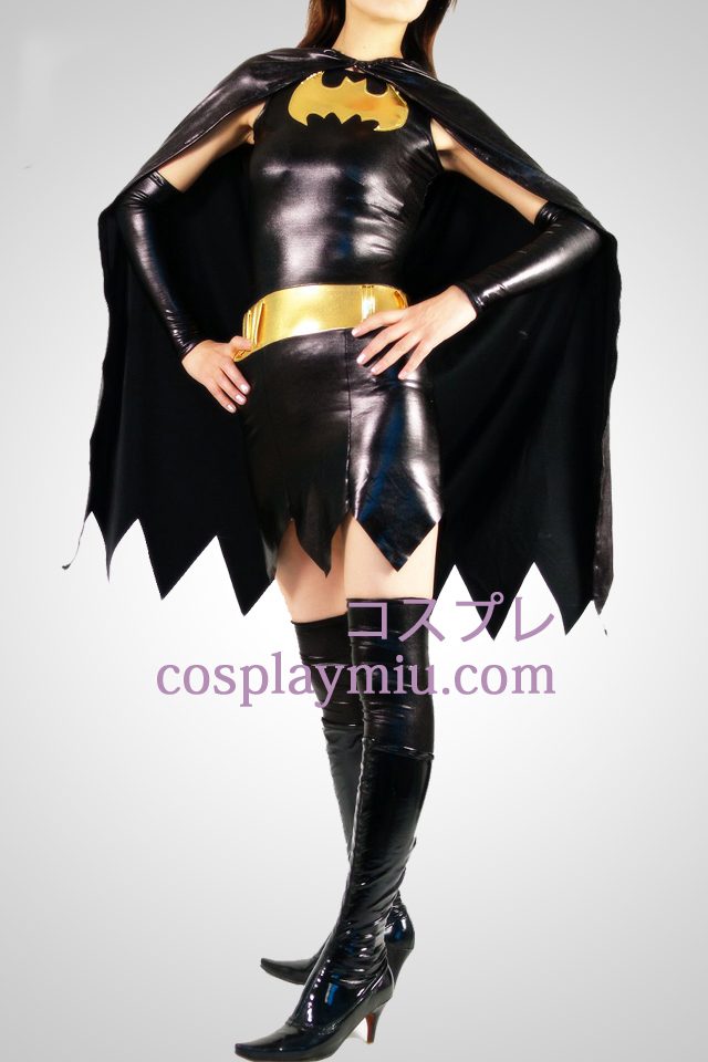 Black Batwoman Shiny Metallic Superhero Catsuit