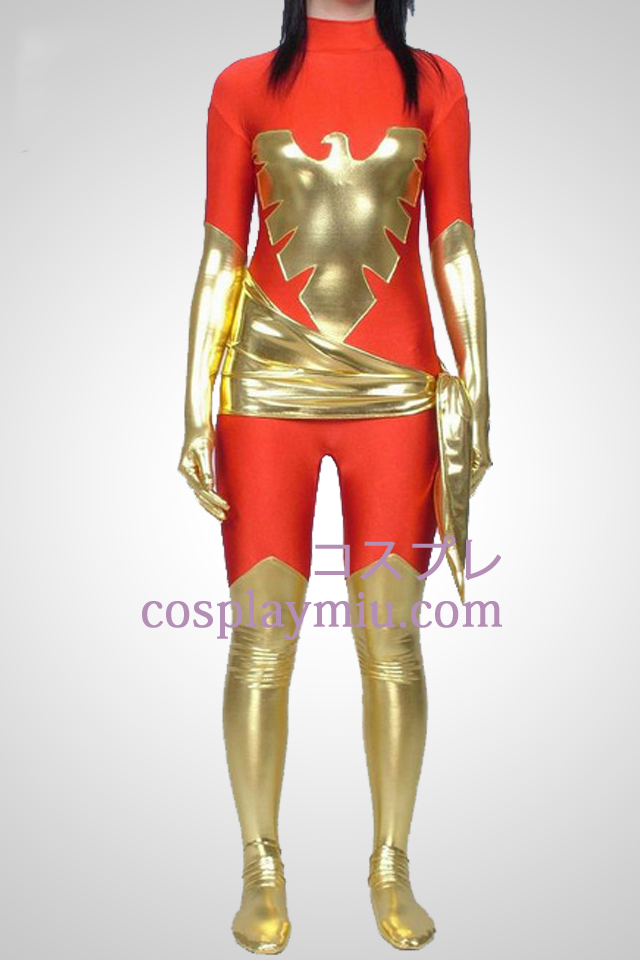 X-Men Dark Phoenix Shiny Metallic And Lycra Superhero Catsuit