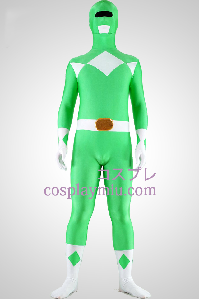 Mighty zentaiin Green Ranger Lycra Spandex Superhero Zentai Suit