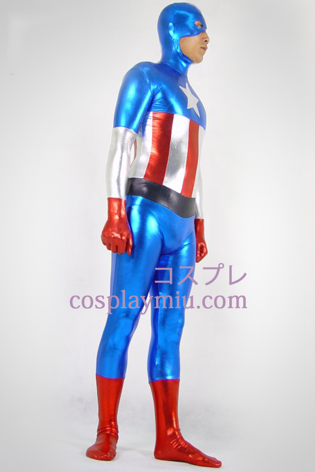 Captain America Shiny Metallic Superhero Zentai