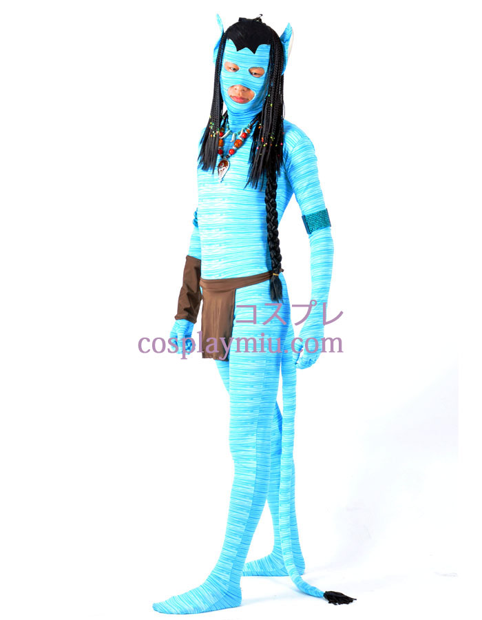 Blue Avatar Lycra Spandex Superhero Zentai With Wig And Accessories