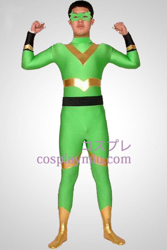 Green And Gold Lycra Spandex Superhero Zentai