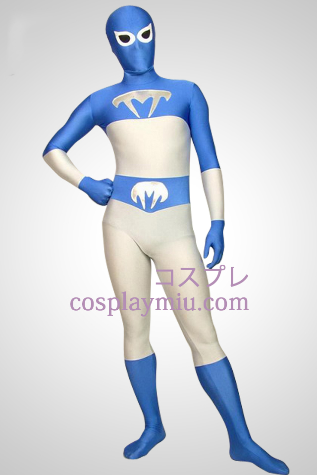 White And Blue Lycra Full Body Superhero Zentai Suit