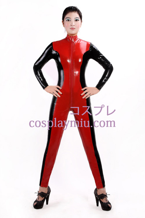 Black and Red Latex Catsuit