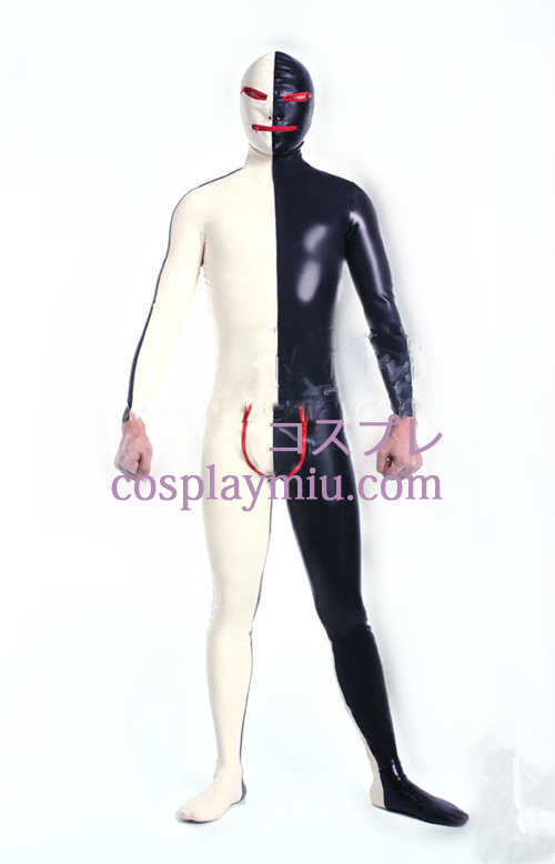 Black White Lycra Spandex Zentai Suit with Open Eyes and Mouth