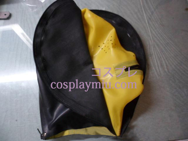 Black and Yellow Latex Mask with Mesh and Double Zippers
