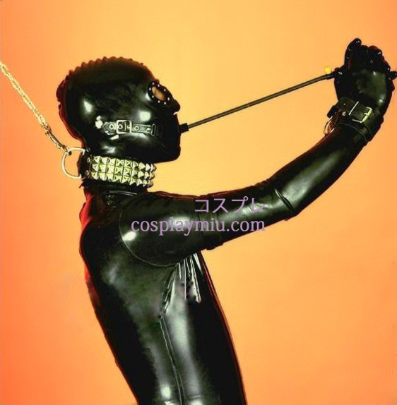 Black Open Eyes Latex Catsuit With Inflatable Stopper
